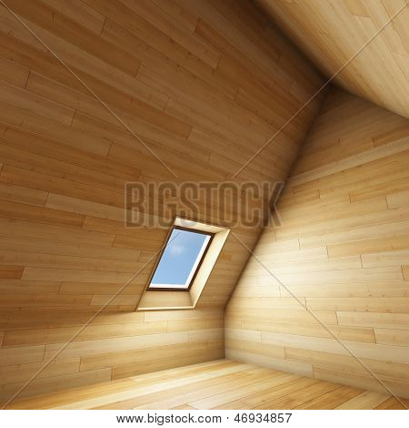 Empty new room with mansard window
