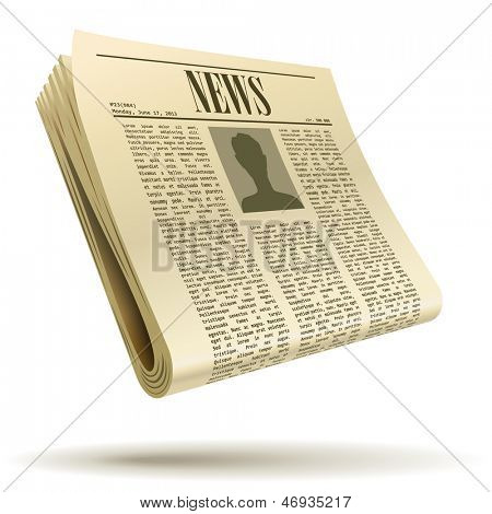 Newspaper realistic vector illustration isolated on white background.