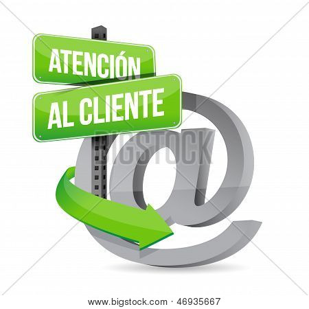 Spanish Customer Support At Sign Illustration