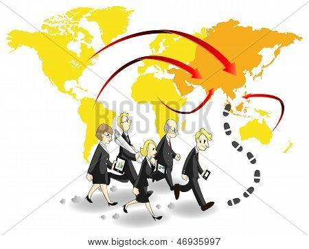 Group Of Business People Seeking Chance In Asia