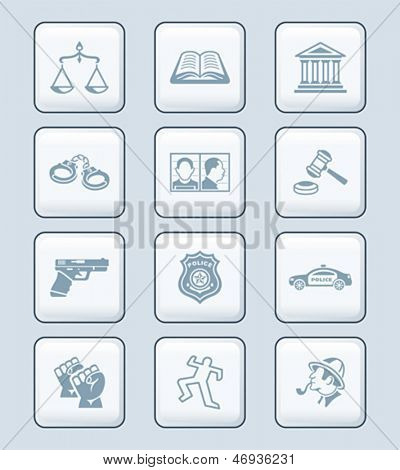 Law and order related objects and persons icon-set