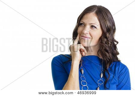 Thinking woman isolated on white background