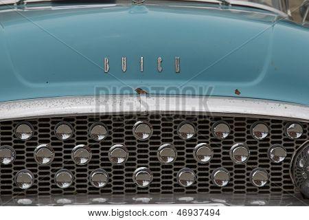 1955 Aqua Blue Buick Special Car Grill View