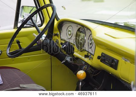 1970's Yellow U.s. Flag Ford Truck Interior View