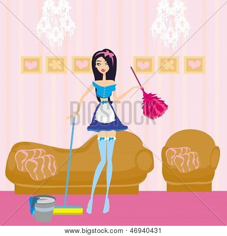 Cheerful Pin Up Girl Retro Style Portrait Pinup Woman Housewife Cleaner Mop