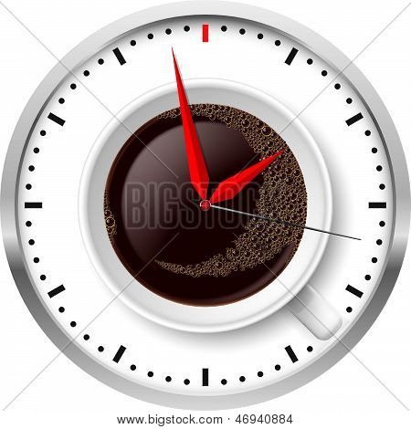 Clock and coffee cup