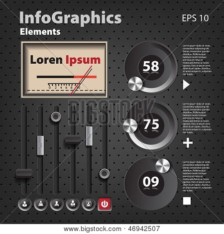 Set Of Elements For Infographics In Ui Style With Detector