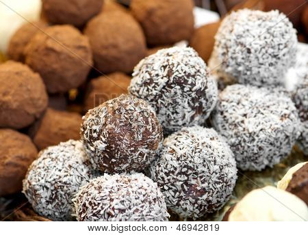 variety chocolate sweets on the market in Spain