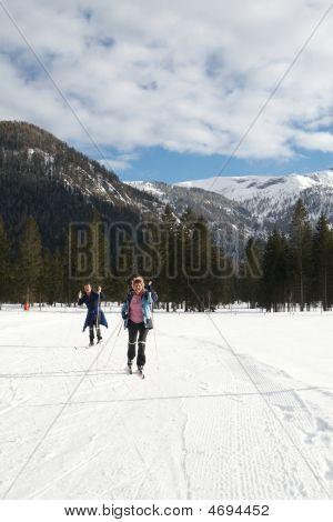 Senior Couple Doing Crosscountry Skiing