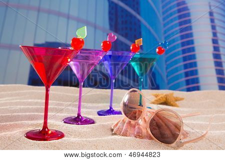 colorful cocktail in a row with cherry sand in urban city building