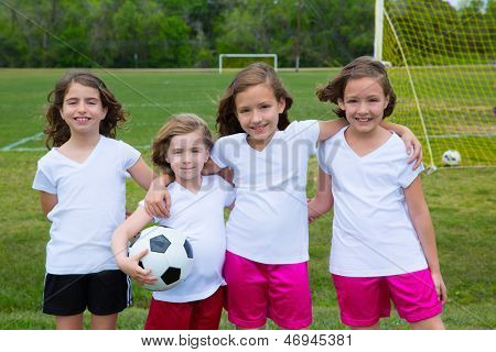Soccer football kid girls team at sports outdoor field before match