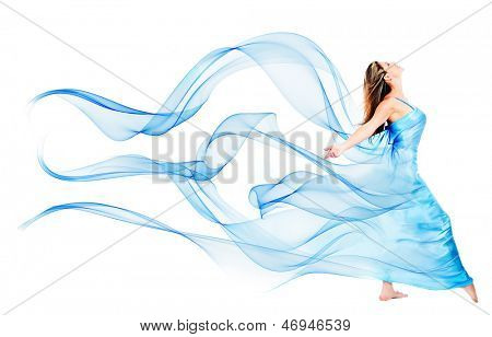 Woman in a beautiful blue dress - isolated over a white background