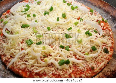 Whole Raw Onion and Scallion Pizza