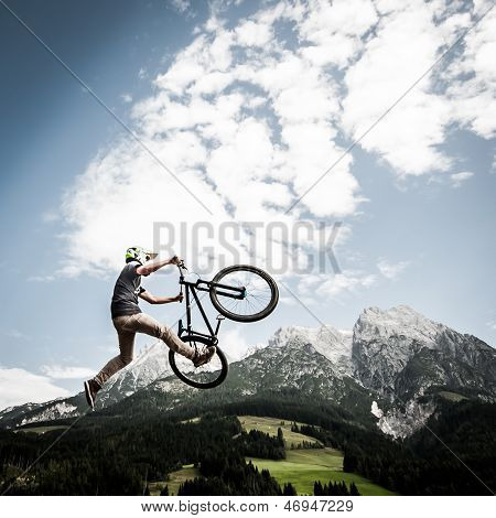 young men jumps with trick
