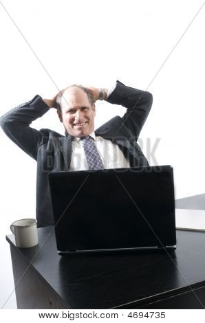 Corporate Business Senior Executive Relaxing In Office