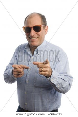 Smiling Man With Fingers Pointing To Viewer