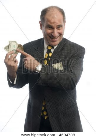 Excited Business Man With Wad Of Money