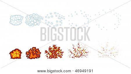 Zwei Arten von Explosionen für Animation. Cartoon und Vektor-Illustration, freigestellte Objekte