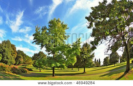 The most romantic landscape park garden in Italy. Lovely green grassy lawn at sunset.  Photo taken fisheye lens
