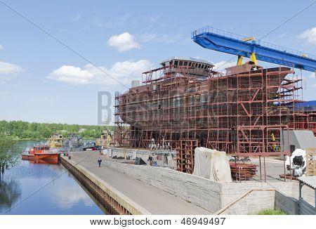 Vessel Under Construction On The Stocks