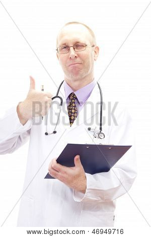 Happy Male Physician Winks And Shows Thumb Up