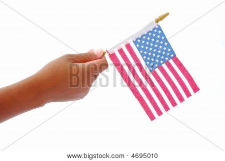 amerikanische Flagge in Black hand
