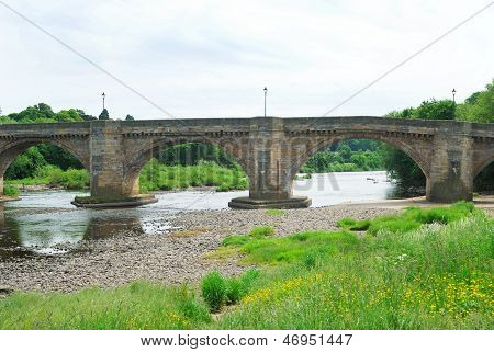 Old Bridge And River Tyne At Corbridge, Northumberland