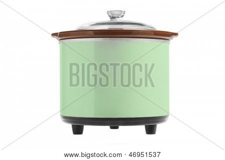 Green Electric Cooker On White Background