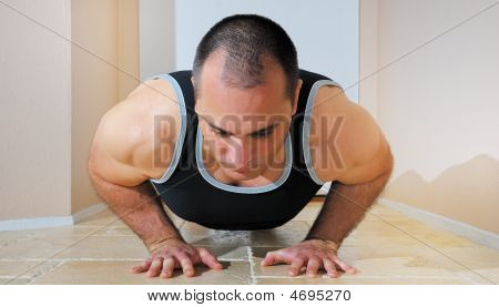 Strong Man Doing Pushups