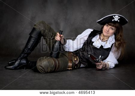 Girl - Pirate With Pistol And Bottle