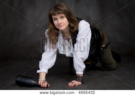 The Funny Girl - Pirate With Bottle