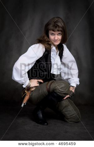 Girl - Pirate With Pistol Sit On Black