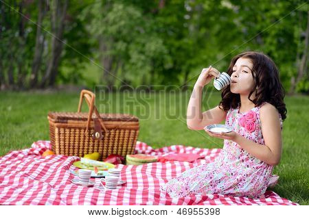 little girl picnic drinking tea