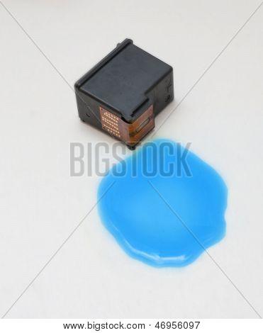 Blue Ink Cartridge On White Background