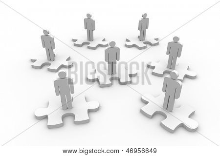 Strewn human representation standing on jigsaw pieces on white background