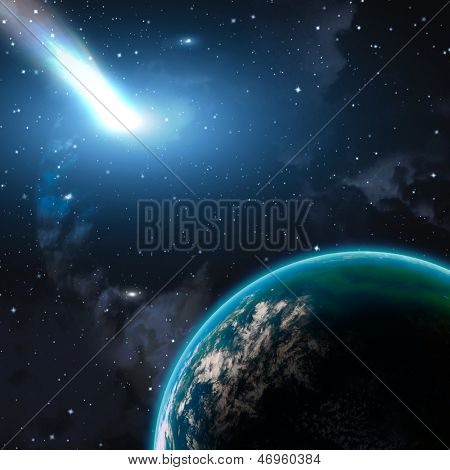 Earth in space with a flying asteroid, abstract background