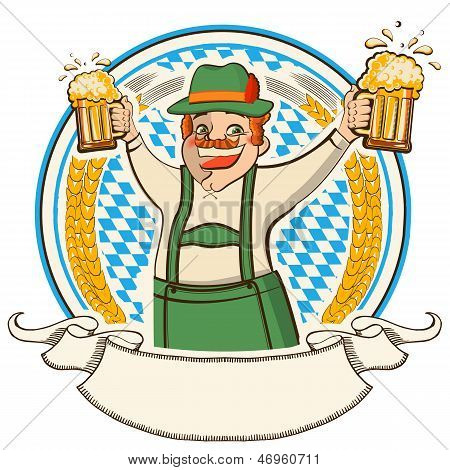 Oktoberfest .vector Label With Man And Glasses Of Beer