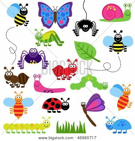 Große Vector-Set Cute Cartoon Bugs