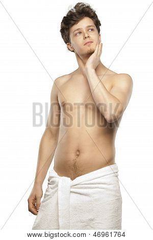 Young Man Just Coming Out Of Shower