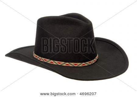 American West Rodeo Black Felt Cowboy Hat Isolated