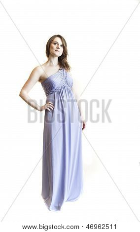 Young Woman With Beautiful Green Eyes In Blue Gown