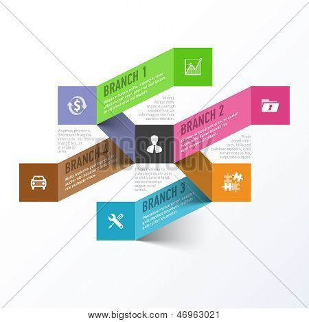 Abstract business branches infographics template. Vector.