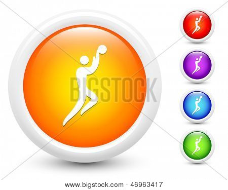 Basketball Icons on Round Button Collection Original Illustration