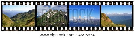 Strip Of 35Mm Film With Mountains Shots