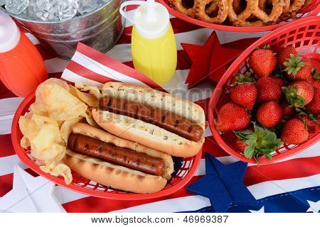 Looking down on a picnic table decorated for the 4th of July. Hot Dogs, chips, strawberries, mustard, ketchup, pretzels, and ice bucket fill the frame. Horizontal Format.