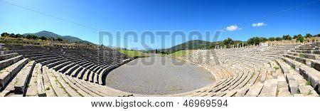 The Panorama Of Stadium With Mausoleum In Ancient Messene (messinia), Peloponnes, Greece