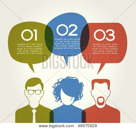 People Chatting. Vector illustration of a communication concept, relating to feedback, reviews and discussion. The file is saved in the version AI10 EPS. This image contains transparency