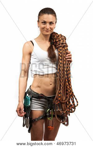 Female rock climber with rope
