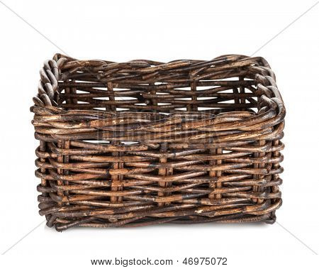 Empty wicker basket. Isolated on white background