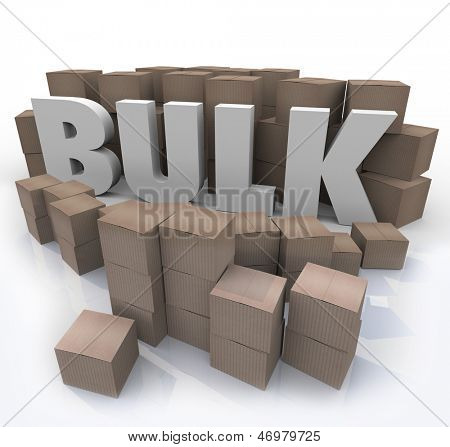 The word Bulk surrounded by cardboard boxes and packages at a wholesale store to illustrate savings of buying in large volume and quantities